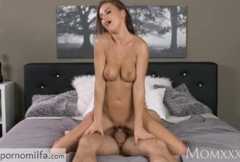 Brunette with big Tits rides on a hard young stud