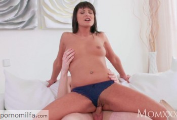 Mature milf rides on a big dick young guy