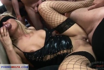 Fuck a whore with a blindfold - gangbang porn