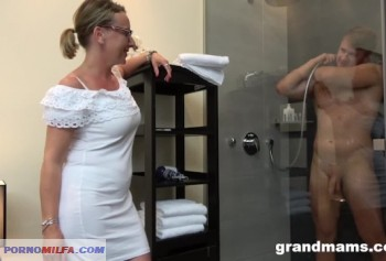 Stepmom having fun with a young athletic son