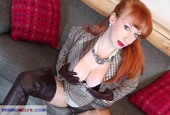 Mature British redhead masturbates in pantyhose